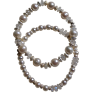 Cultured Freshwater Pearls and Moonstone Bracelets  with Silver Stardust Beads