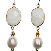 Moonstone and Cultured Freshwater Baroque Pearls Earrings