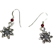 Holiday Silver Poinsettia Earrings with Garnet Accents