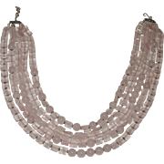 Natural Rose Quartz and Chalcedony Five-Strand Necklace with silver accents