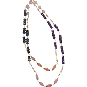 Multi-stone Long Necklace with Labradorite, Fluorite, Czech Glass and Amethyst
