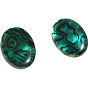 Bright Green Paua Shell Earrings