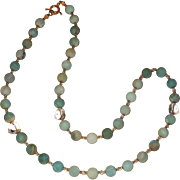 Matte Black Gold Amazonite with Swarovski Crystal Hearts Necklace