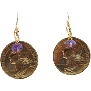 French 10 Centimes with Amethyst Earrings