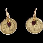 Peruvian Llama 1/2 Sol De Oro with Garnet Earrings