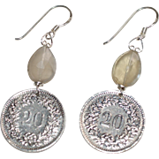 Swiss Confœderatio Helvetica 20 Rappen Coin Earrings with Natural Gray Moonstone