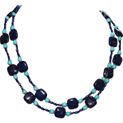 Lapis and Nacozari Turquoise Necklace with Bali and Sterling Silver