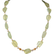 Natural Prehnite Nuggets and Cultured Freshwater Pearls  Necklace