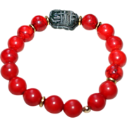 Red Fossil Stone (dyed) Bracelet with Black Stone Carved Scarab