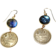 French 10 Francs Coin Earrings with Labradorite (1952 and 1957)