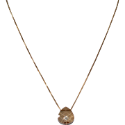 Golden Shadow Chess Cut Swarovski Crystal on 14K Gold Filled Chain