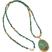 Long Green Chinese Turquoise Necklace with Apple Green Chrysoprase Pendant