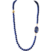 Lapis Necklace with Slab-Cut Lapis and Vintage Gold Foil Bead