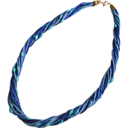 Shades of Blue and Turquoise Rope Necklace with Nacozari Turquoise