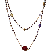 Long Layering Rubellite Chain Necklace with Bezel  Set and Faceted Gemstones