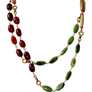 Long Necklace with Green African Jasper, Bone Hairpipe Beads, African Copal and African Pink .