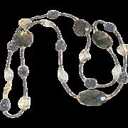 Long Labradorite, Iridescent  Druzy, Lemon Quartz and Green Amethyst Necklace