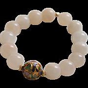 White Chalcedony Bracelet with Cloisonné