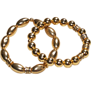 Pair of Vintage Gold Plated Bead Bracelets