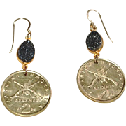 Greek Drachmes Coin Earrings with Bezel Set Black Agate Druzy  (1984)