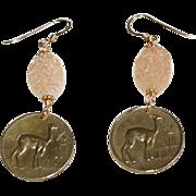 Peruvian Llama 1/2 Sol De Oro with Peach Drusy Quartz (1967)