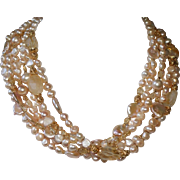 Cultured Freshwater Pearl and Citrine 6 Strand Statement Necklace