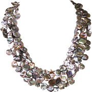 Cultured Freshwater Keshi Pearl Three Strand Necklace