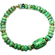 "SALE Green Chinese ""Turquoise"" with large Val Verde Green (dyed) Focal Bead Bracelet"