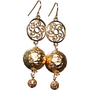 SALE Gold Foil and Vermeil Statement Earrings