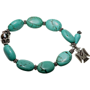 SALE Turquoise and Bali Silver Bracelet with Sterling Silver Thunderbird Charm