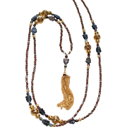 Golden Tassel Necklace with Vintage Czech Glass Beads
