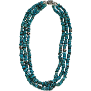 Beautiful Three Strand Turquoise Necklace with Silver Accents