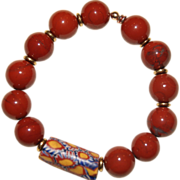 Red Jasper Bracelet with early 1900's Venetian Millefiori African Trade Bead