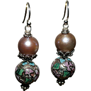 SALE Pink Cultured Freshwater Pearl and Vintage Silver Cloisonné Earrings