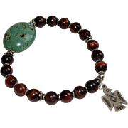 SALE Red Tiger Eye and Bali Silver Bracelet with Sterling Silver Thunderbird