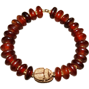 REDUCED Natural Horn Disks with Carved Stone Scarab Beetle Bracelet