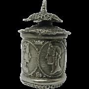 Queen Victoria and Prince Albert -antique commemorative silver tape measure. c 1840