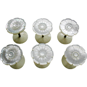 SOLD A set of six mother of pearl topped cotton reel holders. c 1850