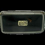 Rare '1805' naval snuff box with inset bone plaque.