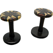 SOLD A pair of inlaid Tunbridge Ware cotton reels. 19th century