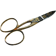 A pair of niello decorated steel sewing scissors. Swedish.