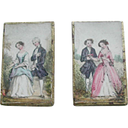 A pair of needle print boxes with contents. c 1860