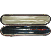 A silver mounted agate crochet hook- boxed. c 1860