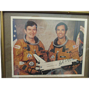Photo of John Young, Bob Crippen, signatures first shuttle