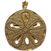 Sand Dollar 14k yellow gold charm or pendant