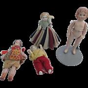 SOLD Vintage German bisque, porcelain miniature doll house dolls,