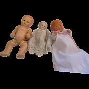 Vintage three little boy doll house dolls