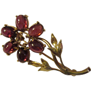 Vintage 14K yellow gold Ruby cabs Dainty single flower