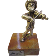 Collectable Ben-Zion 925 sterling silver fiddler man, marble stand