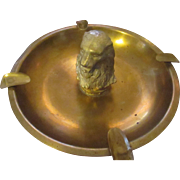 Collectable Man cave brass tiger ashtray marked TRACEY on the bottom